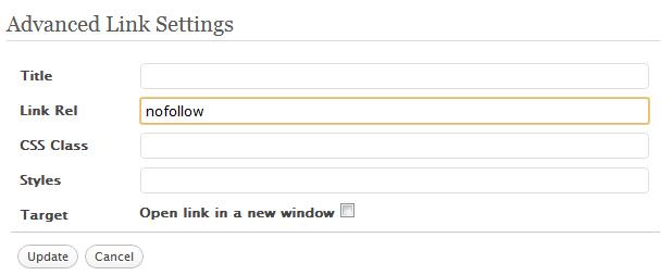 WordPress Nofollow Advanced Settings