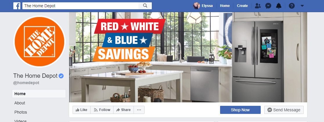Home Depot Facebook Page