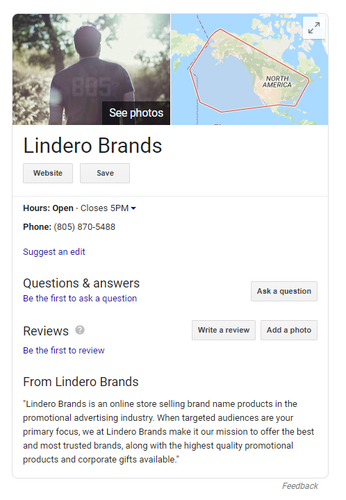 Lindero Brands - Google My Business Listing
