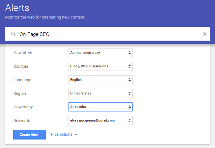 On-Page SEO Google Alert
